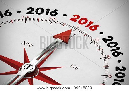 Arrow of a red compass pointing to new year 2016 (3D Rendering)