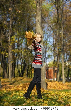 Young Beautiful blonde woman walks in autumn park