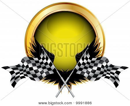 Racing Flags And Golden Button