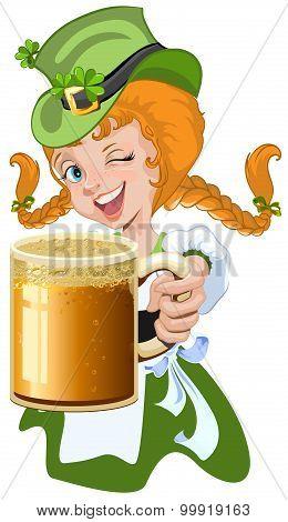 Red haired girl leprechaun holding a glass beer mug