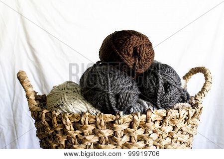 Yarn Skeins In A Wicker Basket
