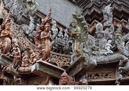 Wooden Sculpture in Sanctuary of Truth. Pattaya,