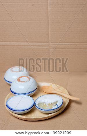Coconut Milk Custard In Small Porcelain Cup (thai Dessert)