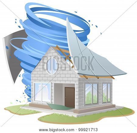 Hurricane destroyed roof of house