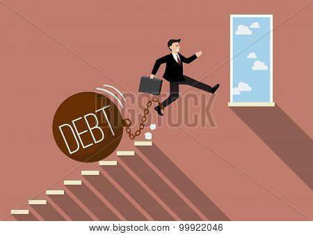 Businessman Jumping To Success With Heavy Debt