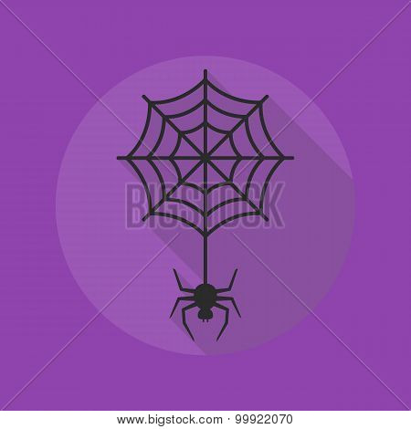 Halloween Flat Icon. Spider With Cobweb