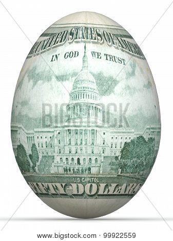 50 dollar back side banknote in shape of egg.