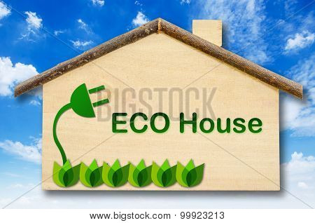 Eco House On Little Home Wooden Model.