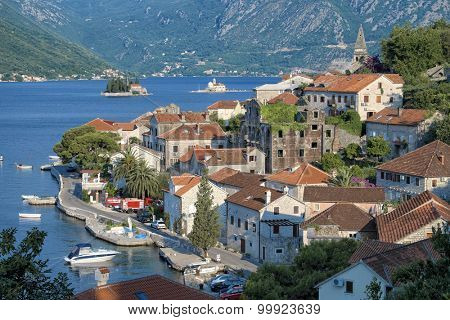 Perast village and small islands of Kotor Bay, Montenegro