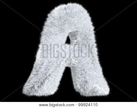 Letter A from fur rabbit alphabet