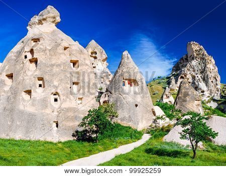 Cappadocia Turkey. Amazing Uchisar rock carved fortress in turkish Anatolia in Nevsehir province.