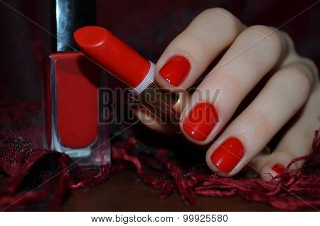 Red nails and red lipstick