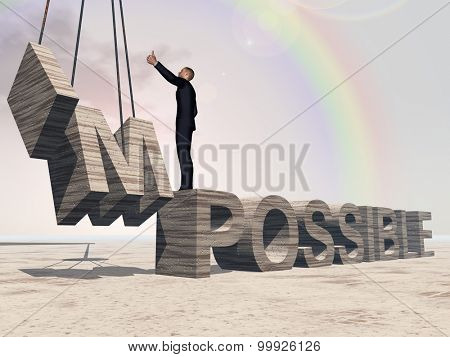 Concept conceptual 3D business man standing over abstract stone impossible text on sky rainbow background