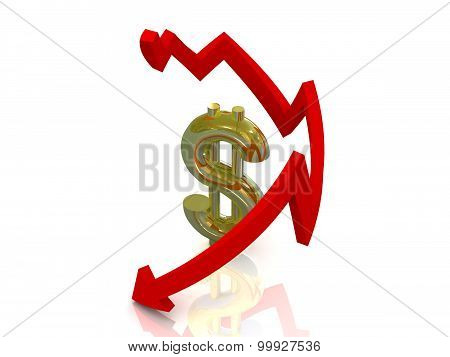 Reducing dollar, white background