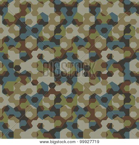 Urban Camouflage Geometric Hexagon Seamless Pattern