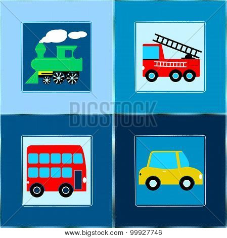Cute Train Bus Car And Fire Truck Children Seamless Pattern