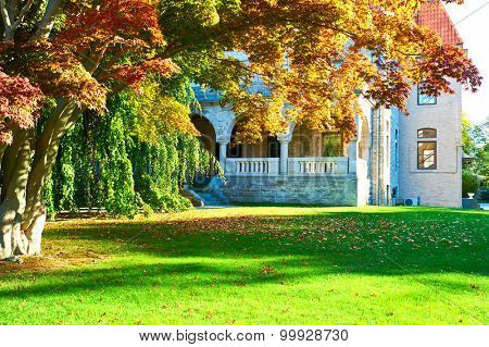 Luxury house in a residential neighborhood at autumn