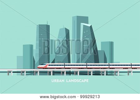 Cityscape background. Urban landscape. Downtown with skyscrapers and railway.