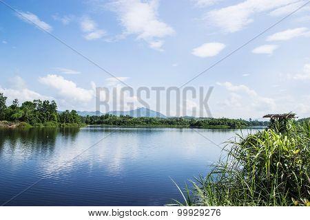 Blue River And Blue Sky