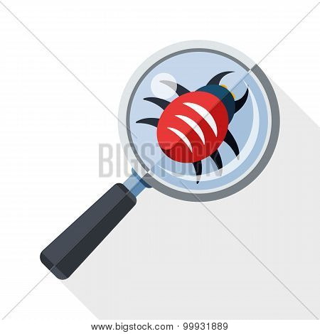 Antivirus Scanning Icon With Long Shadow On White Background