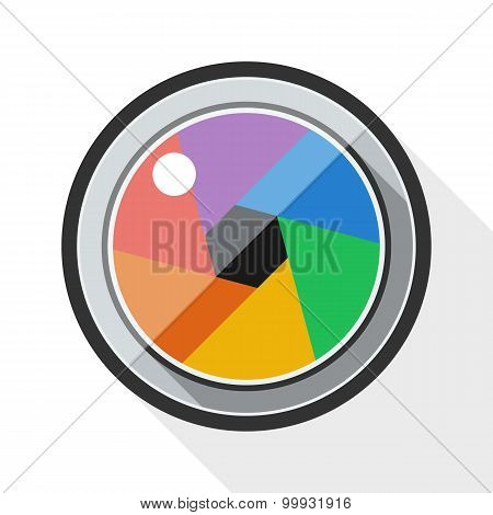 Camera Lens Icon With Long Shadow On White Background