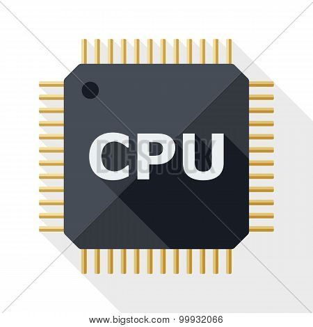 Cpu Icon With Long Shadow On White Background