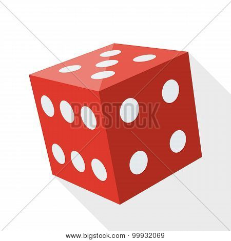 Dice Icon With Long Shadow On White Background