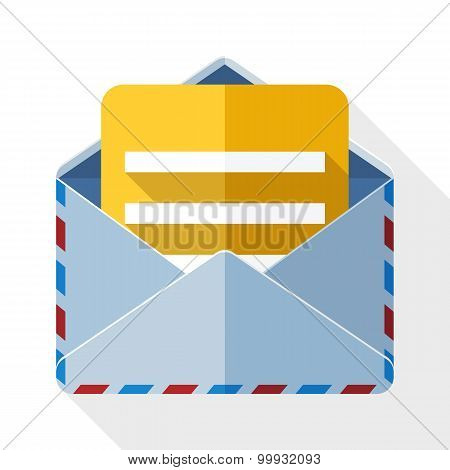 Envelope Icon With A Letter And Long Shadow On White Background