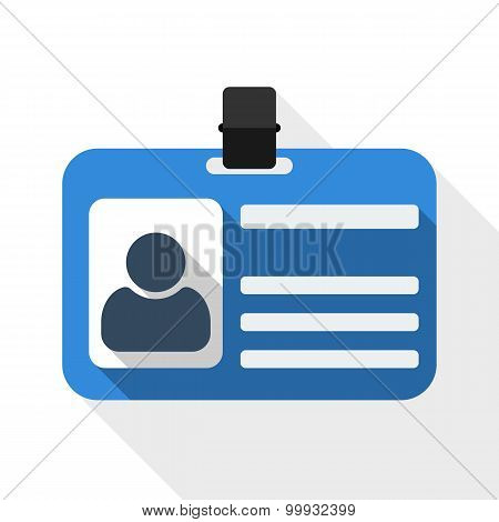 Identification Card Flat Icon With Long Shadow On White Background