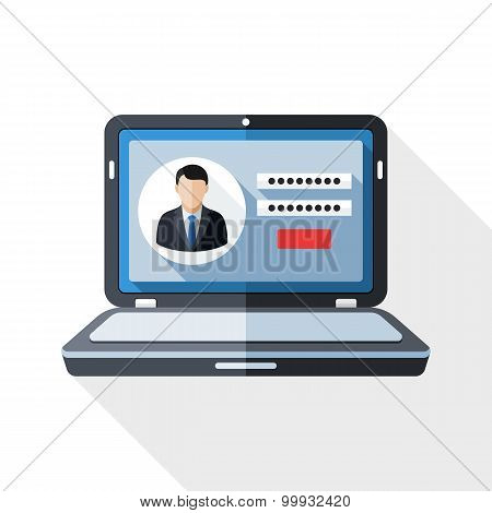 Laptop Icon With User Login Form On The Screen And Long Shadow On White Background