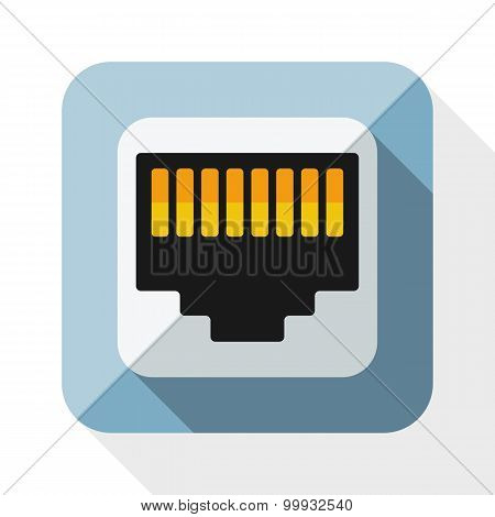 Network Socket Icon With Long Shadow On White Background