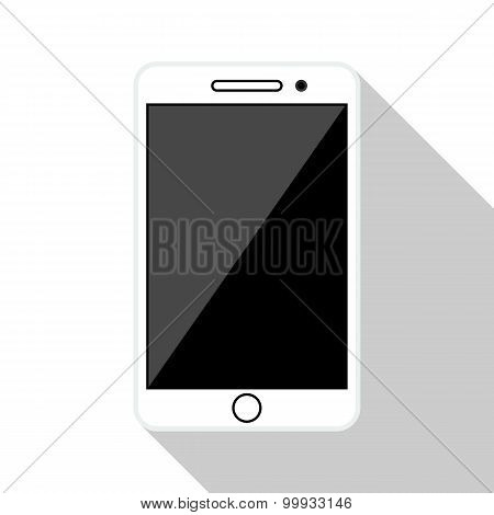 Smartphone Flat Icon With Long Shadow On White