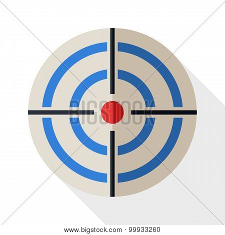 Target Icon In Flat Style With Long Shadow On White Background
