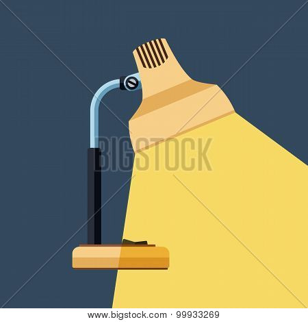 The Icon Of Table Lamp With Beam Of Light On Dark Background