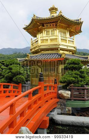 Golden Pagoda With Red Bridge
