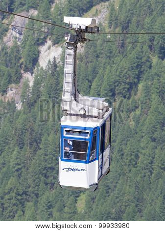 Grande Dixence, Switzerland - 20 July, 2015: Skilift At The Grande Dixence. It's The Highest Gravity
