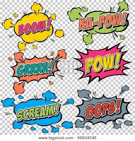 Collection Multicolored Comic Sound Effects.