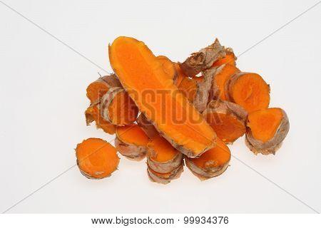 Turmeric, Curcuma Longa, A Rhizomatous Herbaceous Perennial Plant As Spice And Medicinal Herb
