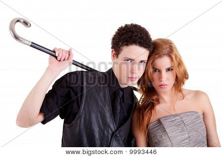 Young Couple, Man Holding A Cane, Isolated On White, Studio Sho