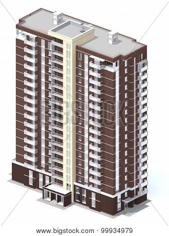3D Rendering Of Modern Multi-storey Residential Building