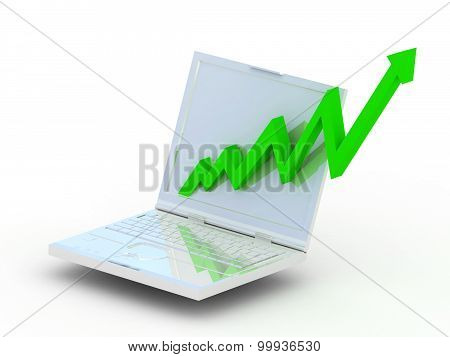 laptop with business graph