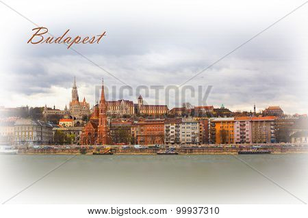 Textured Postcard Or Poster Of Buda Side In Budapest With St. Matthias Church