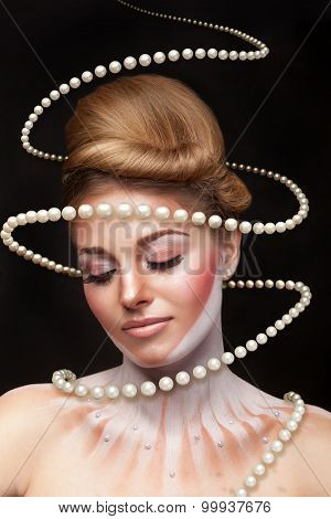 Surreal Art Concept Of Girl With Pearls Arround Her