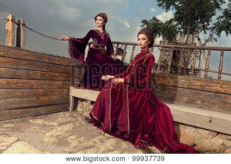 Women On Boat In Vintage Retro Outfit