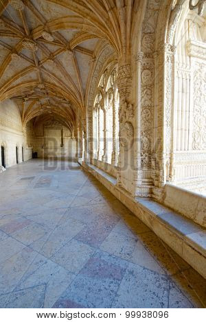 Cloister of Jeronimos Monastery, Lisbon, Portugal.