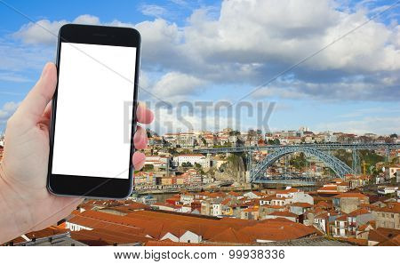 travel concept with old town of Porto, Portugal