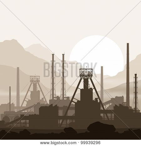 Mineral fertilizers plant over sunset in mountains