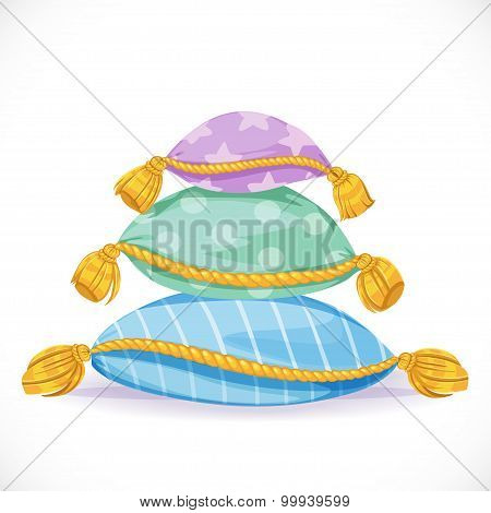 Pile Of Pillows With Tassels Isolated On A White Background