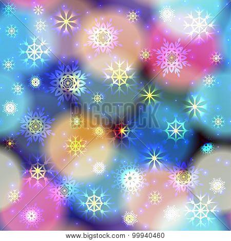 Snowfall on blurred circles.