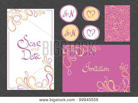 set of invitation cards on gray